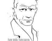 Samuel Beckett - Writer - black ink drawing - fine art - poster print- Famous writers series