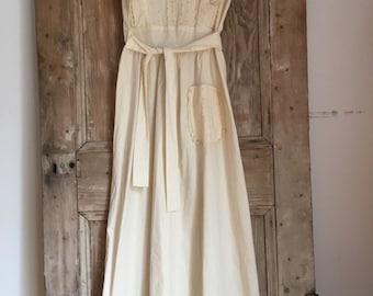 70s Maxi cotton lace dress