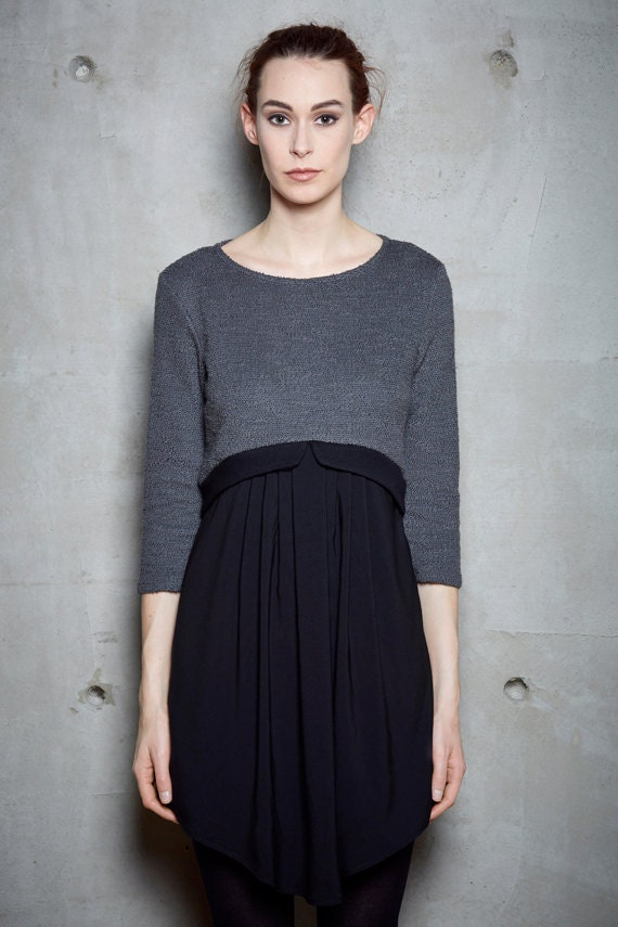 NORA - three-quarter sleeves skater dress, knit flared dress, grey charcoal