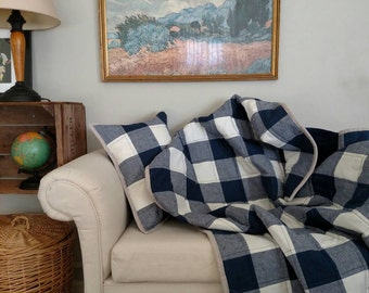 Buffalo Check Toddler or Throw Quilt, Navy and Cream Buffalo Check Quilt, Large Gingham Toddler/Throw Quilt, Custom Available, Made to Order