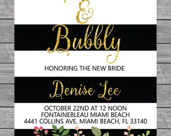 Brunch & Bubbly Bridal, Baby Shower Invitation printable, Black and White, Stripes, Gold, flowers