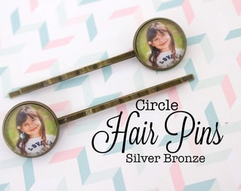 Custom Photo Hair Pin Circle 16 mm Bobby Pins Personalized Gift Silver and Antique Bronze