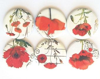 Red Poppy Magnets, Refrigerator Magnets, Fridge Magnets, Poppy Flower Magnets, Decorative Poppy Magnet, Red Poppies Flower Magnet, Set of 6