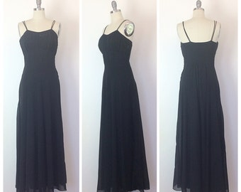 40s Black Bias Cut Floor Length Gown / 194s Vintage Maxi Dress With Spaghetti Straps / Medium / Size 6