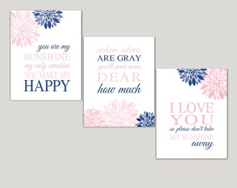 NAVY BLUE PINK  You Are My Sunshine Nursery Decor Flowers Canvas or Print Lyrics Wall Art Set of 3 Baby Shower Gift Baby Girl Wall Decor