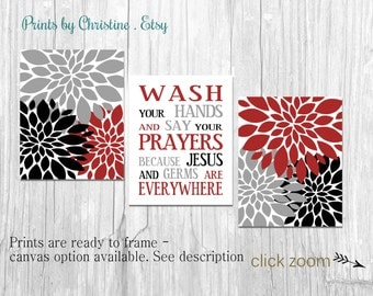 Bathroom Wall Art Set Wash Your Hands Germs Jesus Saying Flower Prints Home Decor  Red Black