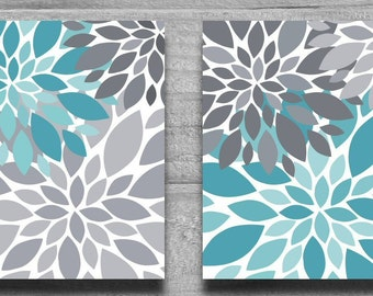 CANVAS ART or PRINTS Turquoise & Gray Flower Burst Wall Art Abstract Botanical Print Set Home Decor Nursery Art, Bathroom Art Aqua Teal