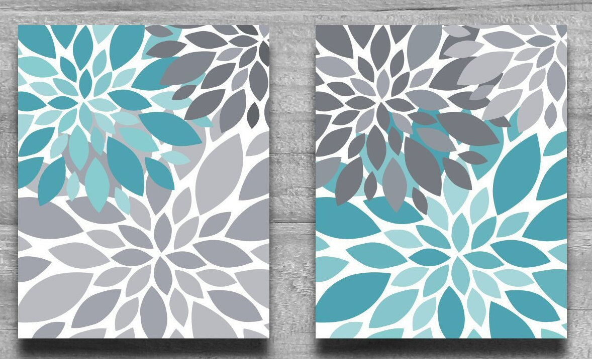 Canvas art or prints turquoise gray flower burst wall art for Turquoise wall decor