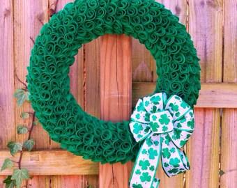 St. Patrick's Day Wreath, Shamrock Wreath, Irish Wreath, St. Patricks Day Decor, Spring Wreath, Green Felt Wreath