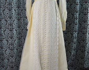 Vintage 1970s Candlelight Empire Wedding Dress, Alencon Lace, Long Sleeves, Detachable Semi-Cathdrl Train, ILGWU