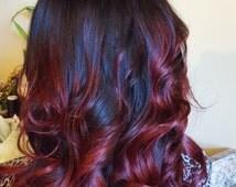 Clip in virgin Human Hair Extensions 1 B (Natural black) -Medium Burgundy Brown Ombre