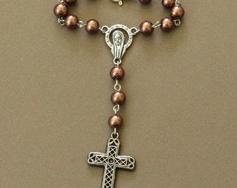 Christian Chaplet, Single Decade, Bronze *rosary,Catholic,singlet,tenner,travel rosary,car rosary,cross,prayer,devotion,worship tools
