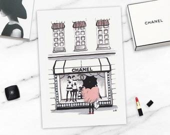 Fashion Wall Decor fashion illustration chanel print chanel illustration