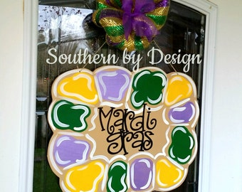 MARDI GRAS King Cake Wooden Door Hanger, Let the Good Times Roll, Fat Tuesday, Float Decorations, Door Signs, Door Decoration