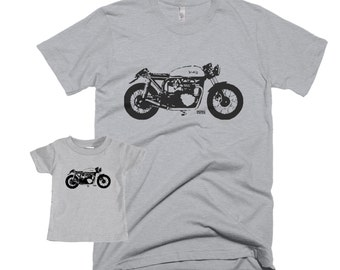 Cafe Racer Dad And Baby Matching Shirt, Vintage Motorcycle Father Son Matching Shirts, New Dad Shirt, First Fathers Day Gift, Motorbike Gift