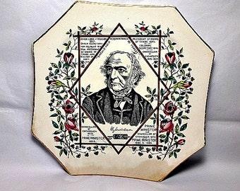 William Gladstone, British Prime Minister, Antique Portrait Plate, Circa 1888, prob Wallis Gimson, Octagonal Shape, Chancellor of Exchequer