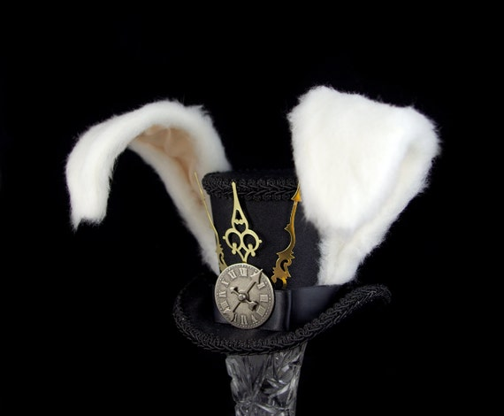 The White Rabbit - Rabbit Eared Black Steampunk Medium Mini Top Hat Fascinator, Alice in Wonderland, Mad Hatter Tea Party, Derby Hat