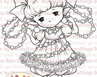 Digital Stamp - Garland Sprite - Whimsical Holiday Image - Fantasy Line Art for Cards & Crafts by Mitzi Sato-Wiuff