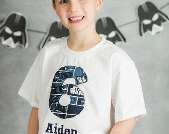 STAR WARS BIRTHDAY Shirt. Kids Appliquéd Personalized T-Shirt, r2-d2, Darth Vader, Luke Skywalker, Boy's Birthday Party