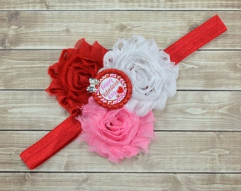 Valentines Day Headband, Valentines Day Bow, First Valentine Day, Pink Flower Headband, Red Flower Headband, Valentines Day Shirt, Red Bow
