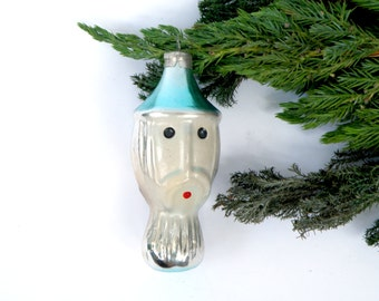 Head Face Vintage Christmas Glass Ornament Tree Decoration Figurine double-sided face blown Bauble Russian fairy tale Toy Retro Xmas Soviet