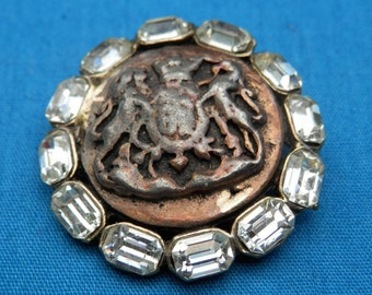 LG Vintage Rhinestone Metal Button