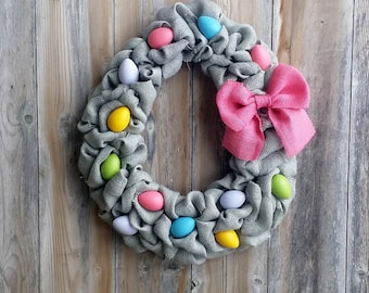 Easter Wreath, Egg Wreath, Easter Decor, Burlap Easter Wreath, Bright Eggs