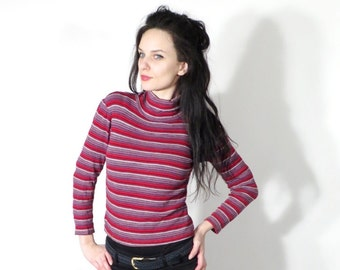 70's Striped Top / grunge Top / Fitted Blouse / Turtle Neck Top / Long Sleeve Top / Blouse Size S / XS