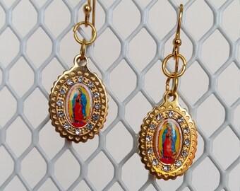 Virgin of Guadalupe Earrings , Iconic Virgin Mary  Golden Tone Earrings, Goden Plated ,Dangle Earrings