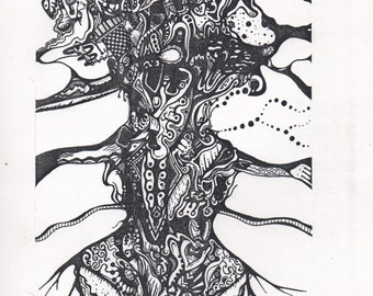 Crazy doodle drawing.