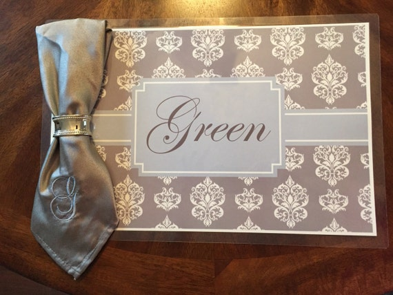 items similar to personalized damask placemats custom place mats monogrammed laminated placemats