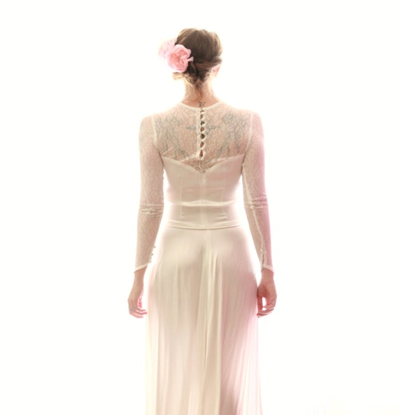 Drop Sleeve Wedding Gowns With: 1930s Silk Wedding Gown Drop-waist 40's Bridal Gown Lace