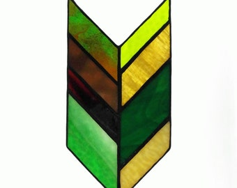 Item #238 Stained Glass Chevron in Neutral & Green Shades