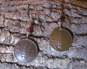 Italy Italia Coins 1921 1930 Earrings Handcrafted