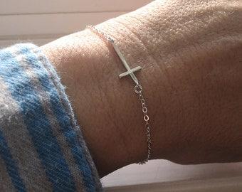 Shiny Silver Cross Bracelet, 14kt Rose Gold Filled Cross Bracelet, 14kt Gold Filled Cross Bracelet, 925 Sterling SilverCross Bracelet