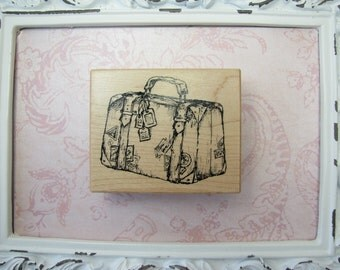 Suitcase Rubber Stamp, Vacation, Altered Art, Mixed Media, Scrapbooking, Travel Journals, Journaling, Luggage, Vagabond, Satchel, Bag - 1