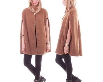 90s Vintage Tan Wool Cape Minimalist Chic Fall Winter Outerwear Coat Womens Size Small Medium Large