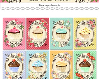 "Printable cupcake cards / ATC ACEO digital collage sheet / 2.5"" x 3.5"" and 3"" by 4"" /  instant download / printable tags / French, flowers"