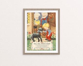 """Digital Baa, Baa, Black Sheep nursery rhyme poster / 8"""" by 10"""" / downloadable, printable / vintage boy Mother Goose digital print / wall art"""