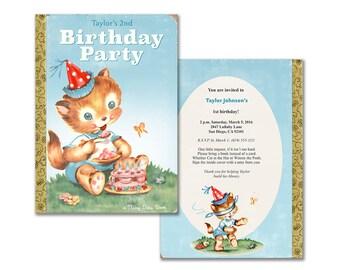 Book birthday party invitation / printable storybook themed invitation / book theme / kitten with cake / DIY invitation / editable PDF