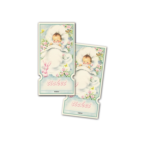Digital Vintage Baby Shower Raffle Tickets / muted neutral colors / shabby chic / perfect for diaper raffle / retro baby with stuffed bunny