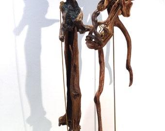 Driftwood Art , Two Large Driftwood Sculptures,Maybe (Janis Joplin).... Abstract, Natural drift Wood Figures.