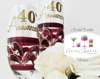 40th Wedding Anniversary Gifts New Zealand : Ruby Anniversary Gift Anniversary Glasses 40th by InaSpinNiquesWay