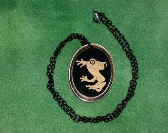 Spiritmouse stylized Tree Frog pendant necklace lazer cut acrylic  Goldtone mirror Tree frog oval