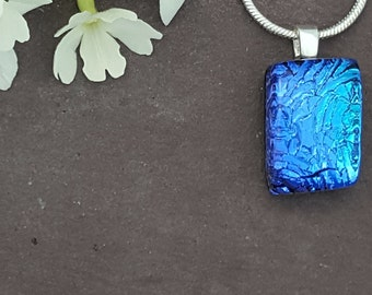 Blue Dichroic Glass Pendant,  Fused Glass jewelry, Fused Glass Jewellery, Sparkly blue turquoise, Mulitcolour Necklace, Gift For Her