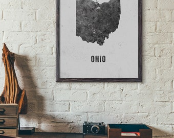Ohio Map Printable, Black and White, Modern Map Art, Industrial Map, Loft, Cafe Decor, Hotel Decor, Scandinavian, 5x7 8x10 11x14 16x20, E035