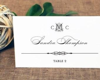 Printed Alexa Wedding Place Cards, Monogram Wedding Place Cards, Celtic Monogram Place Cards, Seating Cards
