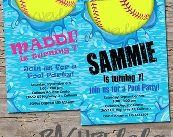 Softball Pool, Birthday Invitation, Printable, swim party