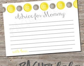Cute as a Button, Baby Shower Advice Cards, Instant Download