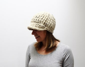 Women's Newsboy Hat - Ladies Womens Brimmed Hat - Crochet Knit Newsboy Hat - Adult Newsboy Hat